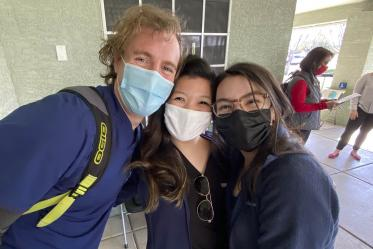 First-year College of Medicine – Phoenix classmates Colton Cowan, Bernice Alcanzo and Alexis Montoya celebrate a successful day volunteering with a pilot vaccine distribution program in a predominately Spanish-speaking area of metro Phoenix.