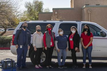 The Mobile Health Unit's Phoenix team from the Mel and Enid Zuckerman College of Public Health on Feb. 8 for the COVID-19 vaccine distribution pilot at El Mirage Senior Village. From left: Jeffery Hanna, Mackenzie Tewell (Maricopa County Department of Public Health liaison), Dr. Cecilia Rosales, Alma Ramirez, Maria Jaime and Maryell Martinez.