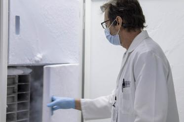Michael Badowski, PhD, associate research scientist in the Division of the Translational and Regenerative Medicine at the College of Medicine – Tucson, is on the small team tasked with overseeing vaccine storage on campus, where vials of the Pfizer COVID-19 vaccine are stored in freezers.