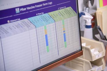 Each vial of the Pfizer vaccine has a batch number; a log is used to account for every Pfizer vial received, thawed and released.