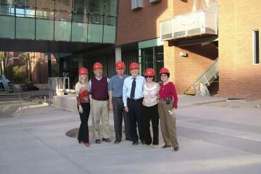 Faculty and staff tour Roy P. Drachman Hall in 2005. From left: Kim Bourn; Tony Vurturo; Jerry Cohen; Mel Zuckerman; Enid Zuckerman; Dean G. Marie Swanson, PhD, MPH.