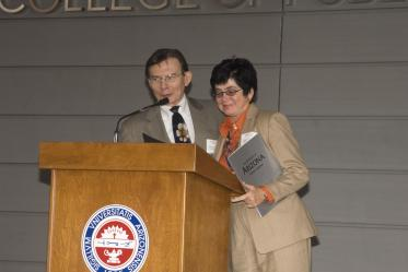 University of Arizona President Peter Likins, PhD, and Dean G. Marie Swanson, PhD, MPH, speak at the 2006 grand opening of Roy P. Drachman Hall.