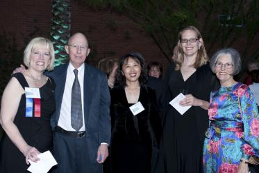 The 10th Anniversary Gala of the Mel and Enid Zuckerman College of Public Health on April 9, 2010. Pictured from left: Chris Tisch; Kent Campbell, MD, MPH; Zhao Chen, PhD, MPH; Kacey Ernst, PhD, MPH; Liz Campbell.