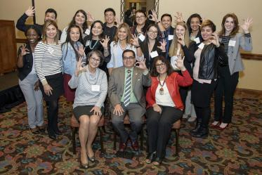 2018 scholarship recipients pose with professor Cecilia Rosales, MD, David Adame, president and chief executive officer of Chicanos Por la Causa and Dean Iman Hakim, MD, PhD, MPH.
