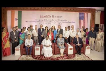 Members of the Global Health Institute attend a 2019 signing ceremony for a partnership between the University of Arizona and Amrita University in Amritapuri, India.