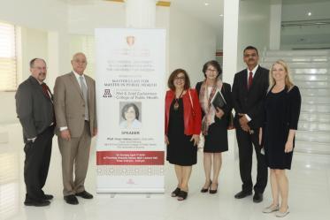Dean Iman Hakim, MD, PhD, MPH, speaks at Gulf Medical University, Ajman, United Arab Emirates, in 2018.