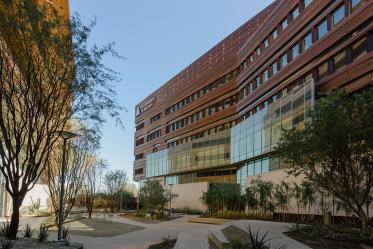 The shade cast in the canyon between the Biomedical Sciences Partnership Building and the Health Sciences Education Building on the Phoenix Biomedical Campus makes this a favorite place for people to congregate on all but the hottest of days.