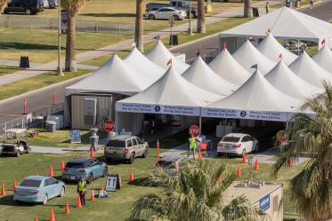A bird's eye view of the COVID 19 vaccine point of distribution on the University of Arizona's mall. The county-run site is drive-through only. Another walk-up site also is available on campus.