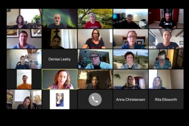 Our new normal: All-staff meeting conducted via Zoom, featuring members of the University of Arizona Health Sciences Office of Communications.