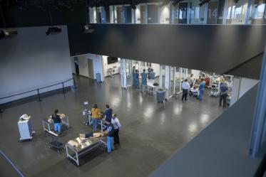 The seventh floor is home to the Arizona Simulation and Technology Education Center, where large-scale health simulation exercises can commence, and students can get training with manikins in a number of specialty skills.