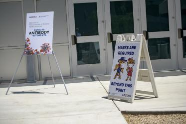 Signage welcoming first responders and the public as they arrive April 30 to take a COVID-19 antibody test at the Cole and Jeannie Davis Sports Center in Tucson.