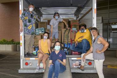 On June 5 Margaret Briehl, PhD, Maria Lluria-Prevatt, PhD, Sofia Prevatt, UArizona alumn Meucci Ilunga, Dennis Ray and Matthew Prevatt helped load a truck to transport donations from the Cancer Center to the Navajo Nation.