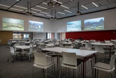 The third floor boasts a large classroom that can be used for catered events, large classes, or conferences.