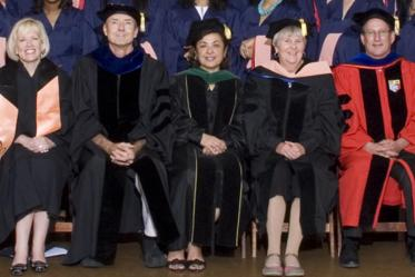 "2009 Mel and Enid Zuckerman College of Public Health convocation. Five of the 15 ""originals"" from left: Chris Tisch, assistant dean of student and alumni affairs; Duane Sherrill, PhD, associate dean of research; Dean Iman Hakim, MD, PhD, MPH; Jill de Zapien, program director in the Health Promotion Sciences Department; Douglas Taren, PhD, director of the Western Region Public Health Training Center."
