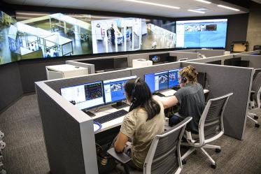 As part of the simulation center, a multimedia hub allows instructors to evaluate and coach students.