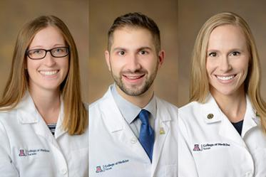 College of Medicine – Tucson students Layne Genco, David Haddad and Meleighe Sloss won the CUP scholarship award this year.