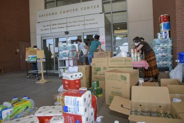 The University of Arizona Cancer Center held a donation drive in late May to assist the Navajo Nation, which has been hard hit by the COVID-19 pandemic. Members of the Partnership for Native American Cancer Prevention (NACP) collected the donations: Margaret Briehl, PhD, principal investigator and professor of pathology; Maria Lluria-Prevatt, PhD, research administrator; Tiffani Begay, MPH, research education core senior program coordinator; Debbie Aguirre, administrative associate.