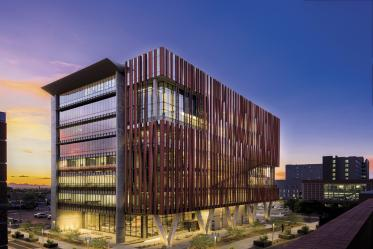 The Health Sciences Innovation Building was opened in 2019 as a cutting-edge science research, education and outreach space, flexible to meet the changing needs of the Health Sciences community.