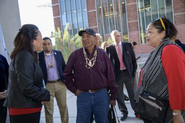 Attendees gather outside the Health Sciences Innovation Building for the blessing ceremony, Nov. 1, 2019.