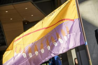 The flag of the Tohono O'odham Nation at the Health Sciences Innovation Building blessing