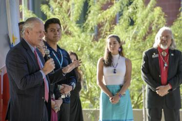 University of Arizona President Robert C. Robbins, MD, speaks during the blessing ceremony.