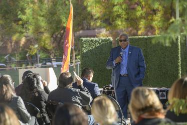 Chairman of the Tohono O'odham Nation, Ned Norris, speaks during the blessing ceremony.
