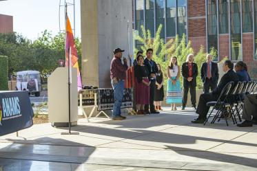The Native American blessing was conducted by Tim Antone, a spiritual leader of the Tohono O'odham Nation.