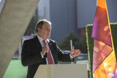 Senior Vice President for the University of Arizona Health Sciences Michael D. Dake, MD, speaks at the event.
