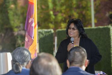 Pascua Yaqui tribal member and State Sen. Sally Ann Gonzales speaks at the ceremony.