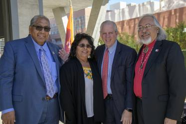 From left: Chairman of the Tohono O'odham Nation Ned Norris, Pasqui Yaqui tribal member and State Sen. Sally Ann Gonzales, University of Arizona President Robert C. Robbins, MD, and Assistant Dean of Curricular Affairs Carlos Gonzales, MD