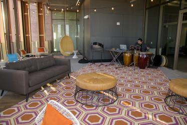 Student support spaces, including this patio on the sixth floor, have a variety of environments for students to inhabit.