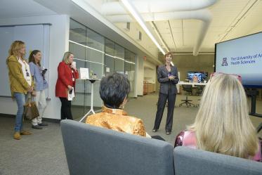 Director for Health Sciences Design Kasi Kiehlbaugh, PhD, leads a tour through Health Sciences Design Center.