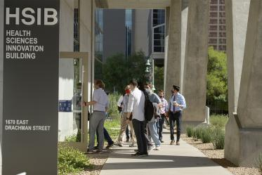 College of Medicine – Tucson students enter the Health Sciences Innovation Building.