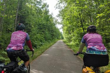 The riders wore jerseys printed with word clouds about health care as a way to prompt conversations with people they met along the bike route.
