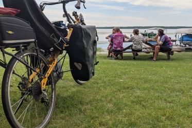 Friends joined sections of the bike listening tour. The group stopped for meals and breaks at picnic areas along the way.