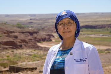 Vanessa Jensen, MD, graduated from the University of Arizona College of Medicine – Tucson in 2003, and completed her general surgery residency in 2009. She stands on her Navajo homestead overlooking the Kerley-Moenkopi Valley, where many of her family members live.