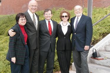 The college is officially named the Mel and Enid Zuckerman College of Public Health in 2002. Pictured from left: Dean G. Marie Swanson, PhD, MPH; Tucson Mayor Bob Walkup; University of Arizona President Peter Likins, PhD; Enid Zuckerman; Mel Zuckerman.