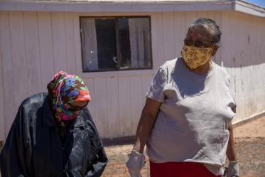 Tribal members of the Navajo Nation received water, sanitizer, cleaning supplies and food from the University of Arizona Cancer Center drive.