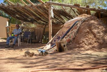 Laurence Kaibetoney monitors a sweat lodge where family come to meditate and reflect.