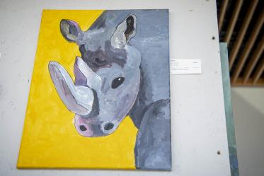 """Jon Erath's entry, """"Rhino."""" Erath is a former student worker and current volunteer for ArtWorks at the Department of Family & Community Medicine."""
