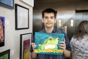 """Jon Erath's entry, """"Green Tree Frog."""" Erath is a former student worker and current volunteer for ArtWorks at the Department of Family & Community Medicine."""