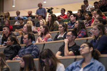 Students listen to Drug Survival 102 panelists speak about the response to the opioid overdose crisis.