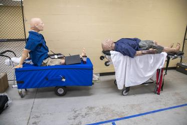 A vendor donated two high-fidelity manikins to add to the realism of Tucson Airport Authority's full-scale emergency drill. After ASTEC decorated the manikins with wounds, they were ready for first responders, who can use them to practice caring for patients in any emergency situation.