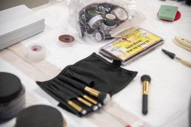 The tools of the trade: ASTEC staff know how to use makeup, sponges and brushes to create true-to-life but simulated traumatic wounds.