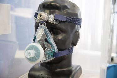 An early hybrid 3D-printed prototype face mask that would protect health care workers at Banner – University Medical Center in Tucson during the pandemic.