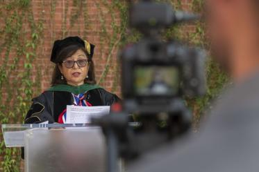 Dean Iman Hakim, MD, PhD, MPH, is filmed for the Mel and Enid College of Public Health 2020 convocation, which was presented virtually due to the COVID-19 pandemic.