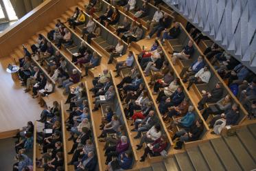 Hundreds of Health Sciences faculty and staff attend a town hall with Michael D. Dake, MD, senior vice president for Health Sciences, in January 2020.