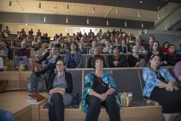 The audience packed the Forum of the Health Sciences Innovation Building for the town hall event in Tucson, Jan. 28, 2020.