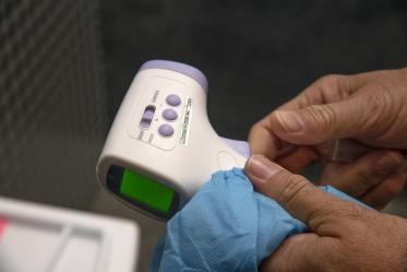 A thermometer is available for faculty, students and staff for temperature check at the Center for Innovation in Brain Science at Bioscience Research Laboratories. The center implemented COVID-19 screening with daily online health surveys and temperature scans for all faculty, staff and students entering buildings.