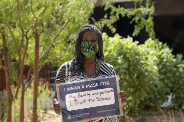 Wearing a mask for her family and patients, Victoria Murrain, DO, is the vice dean of the Office of Diversity, Equity and Inclusion at the College of Medicine –Tucson.